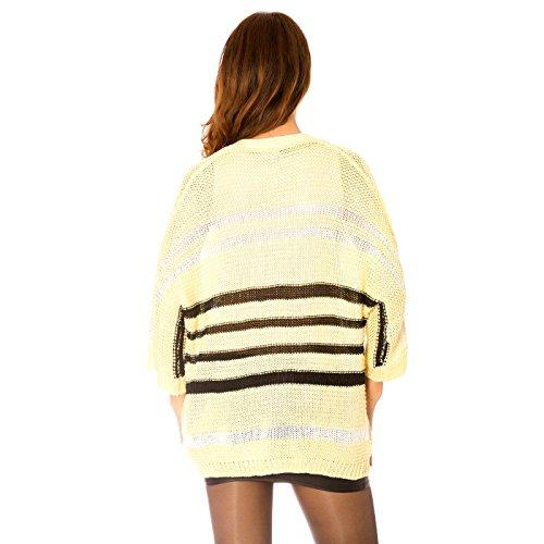 Miss Wear Line Gilet fin jaune en maille style chauve souris à rayures noires et blanches