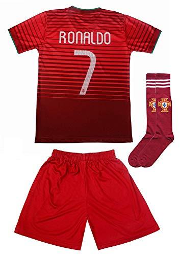 741370f1cbf 2015 Portugal Cristiano Ronaldo  7 Home Football Soccer Kids Jersey Short  Socks Set Youth Sizes