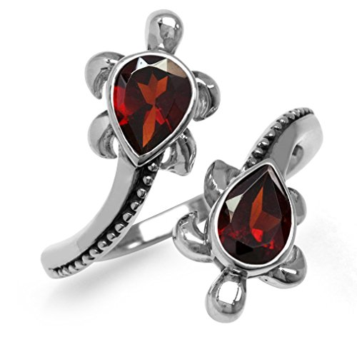 (1.68ct. Natural Garnet White Gold Plated 925 Sterling Silver Turtle Bypass Ring Size 7)