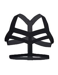 Iffee Men's Nylon Body Chest Harness Lingerie Elastic Shoulder Support Brace