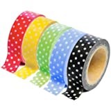 Dress My Cupcake DMC29223 Washi Decorative Tape for Gifts and Favors, Polka Dot Collection, Set of 5