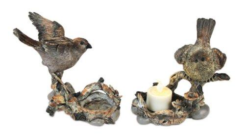 Branch Tealight Holder - Melrose Set of 2 Nature's Story Teller Bird on Branch Tea Light Candle Holders 5.5