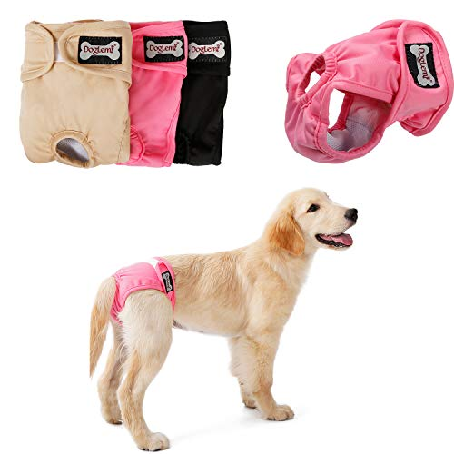 RC GearPro Female Dog Diapers, Pack of 3 Washable Reusable Sanitary Panties for Small to Large Dogs (S)