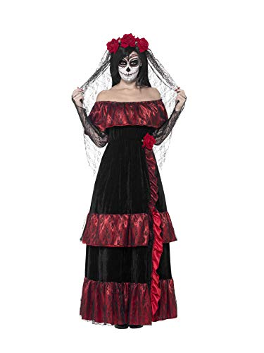 Smiffys Women's Day of the Dead Bride Costume, Dress and Rose Veil, Day of the Dead, Halloween, Size 14-16, -