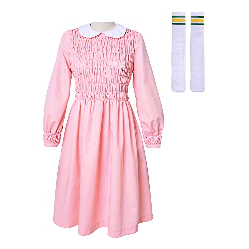 Miccostumes Girl's Pink Eleven Cosplay Beading Dress Costume Including Socks (Women m)