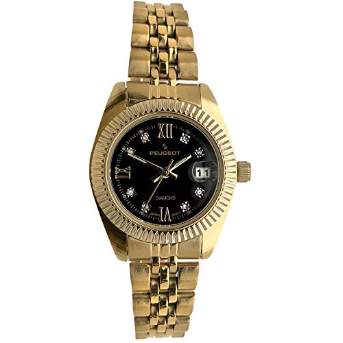 Peugeot Women's Diamond Watch Fluted Bezel Luxury 14K Plated Steel Bracelet Watch with Date Window