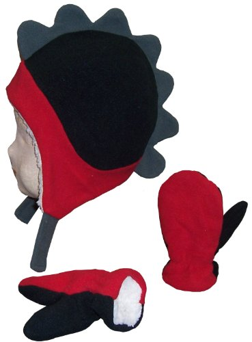 [N'Ice Caps Boys Soft Sherpa Lined Micro Fleece Dino Hat and Mitten Set (18-36mos, red/black/charcoal] (Dinosaur Hats)