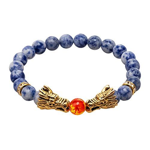LNKRE JEWELRY Vintage Gold Plated Dragon Charm Bracelet Head 8mm Beads Chakra Rock Onyx Prayer Bracelet - Dragon Head Bracelet