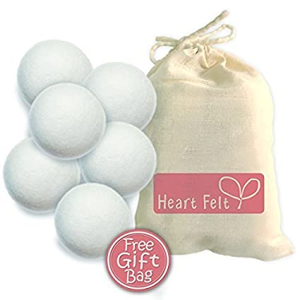 Wool Dryer Balls By Heart Felt Six Pack: 6 Extra-large Balls Made with Premium 100% Organic New Zealand Wool ~ Save Time and Money with This Eco-friendly Laundry Fabric Softener ~ 20% Coupon Code Below for Second Pack~ Eliminate Static ~ Perfect for Cloth