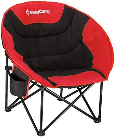 KingCamp Camping Chair Moon Round Saucer Chair Folding Padded Portable Outdoor Chair for Adults with Cup Holder, Storage Bag, Carry Bag, Perfect for Camping Outdoor