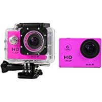Boyiya Mini 1080P Full HD DV Sports Recorder Car Waterproof 170°Wide Angle Action Camera Camcorder (Hot Pink)