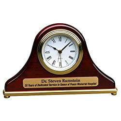 Personalized 7 1/2 x 4 1/2 Rosewood Piano Finish Mantle Desk Clock - BRAND NEW