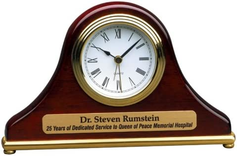 Personalized 7 1 2 x 4 1 2 Rosewood Piano Finish Mantle Desk Clock – BRAND NEW