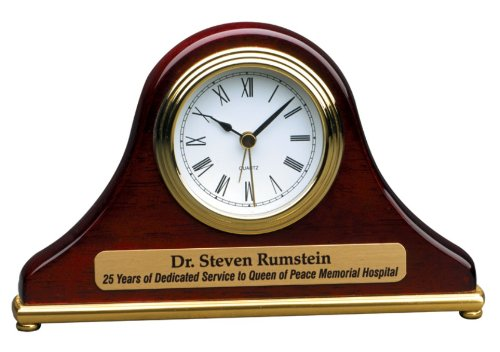 Piano Wood Desk Clock (Personalized 7 1/2 x 4 1/2 Rosewood Piano Finish Mantle Desk Clock - BRAND NEW)
