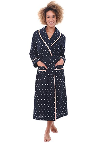 Alexander Del Rossa Womens Dotted Cotton Summer Robe, Lightweight House Coat for Her