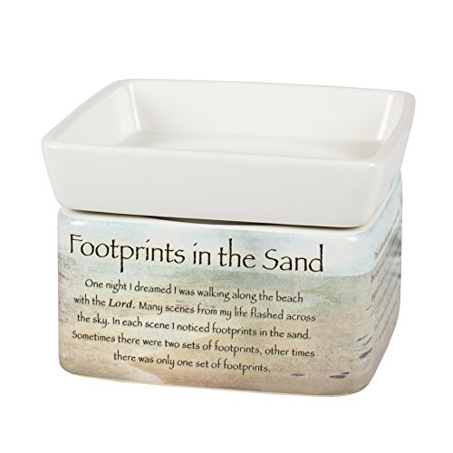 Footprints in the Sand Ceramic Stoneware Electric 2 in 1 Jar Candle and Wax and Oil (Electric Tart Burner Soy Candle)