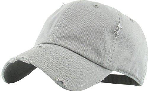 KBETHOS Vintage Washed Distressed Cotton Dad Hat Baseball Cap Adjustable Polo Trucker Unisex Style Headwear (Vintage) Light Gray Adjustable