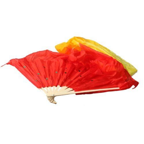 Vktech 3 Color Gradient Flame Dancing Fan Belly Veil for Party Stage Performance