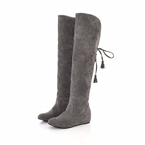 Round knee long canister boots and scrub Gray mHvAduNgD