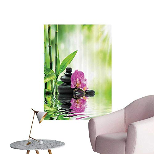 Wall Decals Orchids and Rocks in The Mineral Rich Spring Water Spiritual Deep Treatment Cure Environmental Protection Vinyl,16