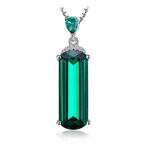 JewelryPalace Fancy Cut 4.4ct Simulated Green Russian Nano Emerald 925 Sterling Silver Pendant Necklace 18 Inches (Russian Emerald)