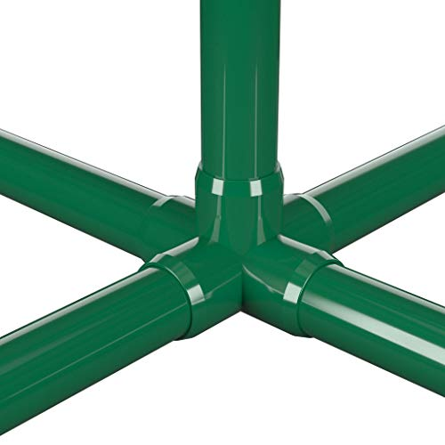 FORMUFIT F0015WC-GR-4 5-Way Cross PVC Fitting, Furniture Grade, 1'' Size, Green (Pack of 4) by FORMUFIT (Image #1)
