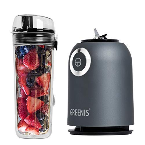 Greenis Personal Blender for Shakes and Smoothies - Single Serve Small Mini Size Kitchen Appliance with Heavy Duty Mixer - BPA Free Tritan Plastic Double-wall Sport Bottle with Leak Proof Lid - 250W /19,000-23,000RMP, Titanium Black