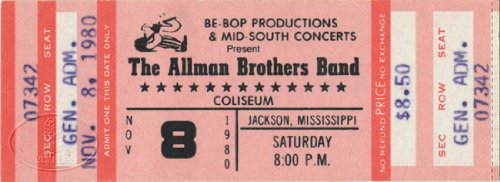 Allman Brothers Band 1980 Unused Concert Ticket