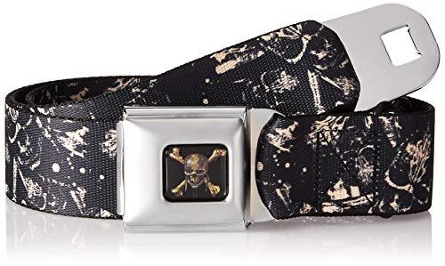 Buckle-Down Men's Seatbelt Belt Regular, pirates Skulls scattered/splatter black/tan/red 1.5