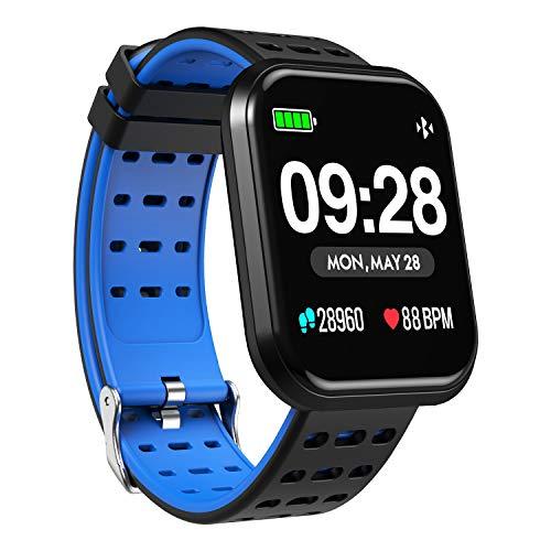 Surpro Smart Watch, Wearable Bluetooth Running GPS Fitness Tracker Watch with Heart Rate Monitor, Waterproof Smart Wristband Pedometer Watch for Kids Woman Man,Blue