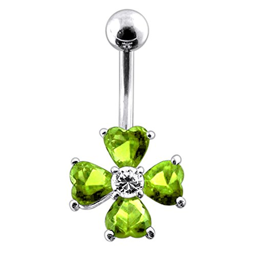 Light Green Gemstone Fancy Clover Flower 925 Sterling Silver with Stainless Steel Belly Button Rings