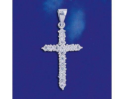 Charm Fruit Italian (Sterling Silver Cross Crystal Floater Pendant Fancy Charm Solid 925 Silver New - Silver Jewelry Accessories Key Chain Bracelet Necklace Pendants)
