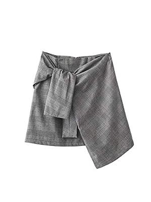 Women Skirt Plaid Gray Mini Skirts Asymmetrical Knotted Zipper Casual Feminina Mini Saias Faldas Jupe
