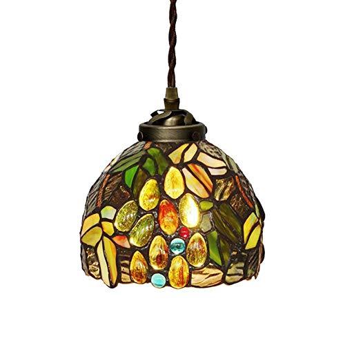 Pattern Tiffany Shade - Tiffany Style Chandelier Metal Chain, 7 Inch Mini Raisin Pattern Stained Glass Light Shade Pendant Lighting, Modern Ceiling Lights Living Room, 110-220V