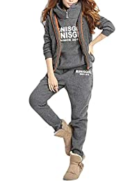 Joe Wenko Women 3-Piece Sweatshirt Pants Sport Hooded Warm Tracksuit Set