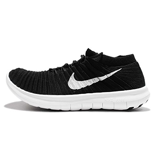 Nike Women's Free Running Motion Flyknit Shoes, Black/White volt dark Grey - 8.5 B(M) US