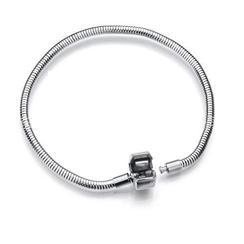 Daisy Jewelry Men Women Snake Charms Bracelet for European Bead Charms Stainless Steel Snake Chain (8.2 Inch (21CM))