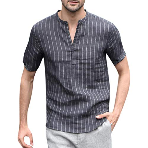 Men's Original Fashion Shirt, MmNote V-Neck Stripe Design Casual Cool Quick Button Athletic Classic Short Sleeve Gray