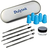 Dulytek 7-Piece Wax Carving & Collecting Tool Set with Thick Glass Jar, Silicone Finger Gloves and Metal Carrying Case