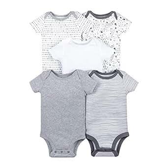 Lamaze Unisex-Baby LA1304368I18 Organic 5 Pack Shortsleeve Bodysuits Layette Set - Gray - 6M