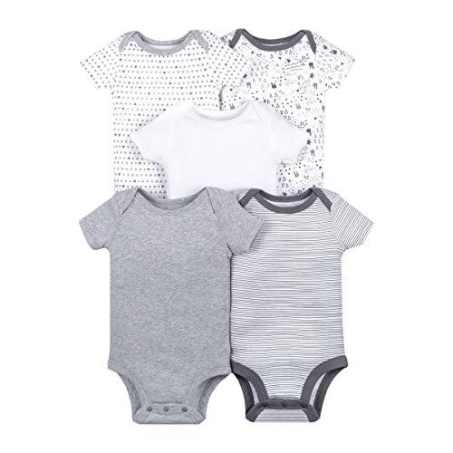 Lamaze Organic Baby Infant Lamaze Baby Organic 5 Pack Shortsleeve Bodysuits, Gray 3M