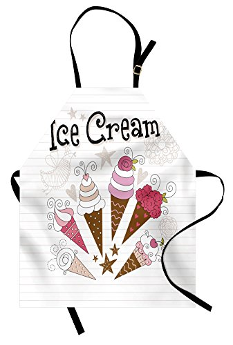 Lunarable Ice Cream Apron, Artistic Strawberry and Vanilla Ice Cream Flowers Hearts Stars Bird Doodle, Unisex Kitchen Bib Apron with Adjustable Neck for Cooking Baking Gardening, Pink Brown Tan