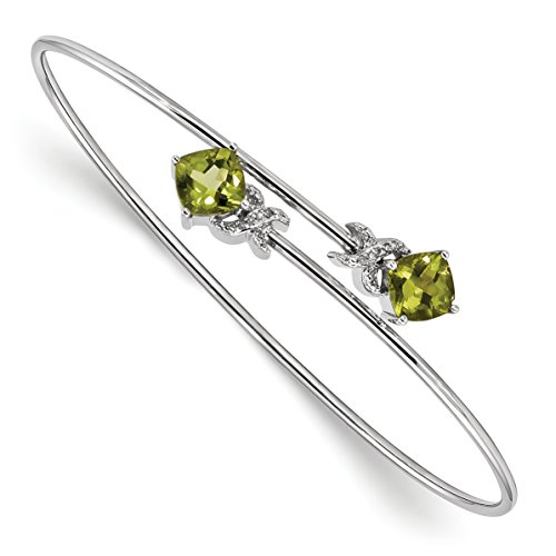 Diamond Heart Fashion Bangle Bracelet (ICE CARATS 14k White Gold 0.03ct Diamond 2.4ct Green Peridot Flexible Bangle Bracelet Cuff Expandable Stackable Gemstone Fine Jewelry Gift Valentine Day Set For Women Heart)