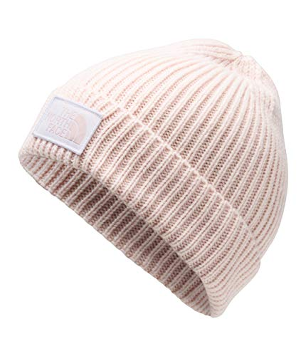 The North Face TNF Logo Box Cuffed Beanie, Pink Salt/TNF White, Size OS Short