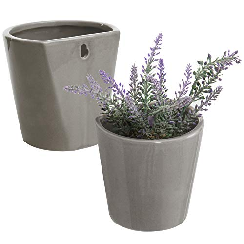 MyGift Set of 2 Wall-Mounted Gray Ceramic Sconce Flower Plant Vase, Succulent Planter Pots