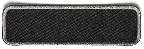 Blank Name Tag Patch Gray Border - By Ivamis Trading - 3.5x1 inch - Twill Fabric - Paper Backing - Embroidered and Laser Cut ()