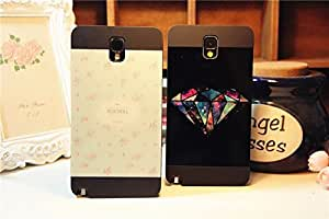 Galaxy I9600 Case, Fashion Splicing Floral and Colourful Diamond Black Case Cover for Samsung Galaxy S5 I9600, 2 pieces