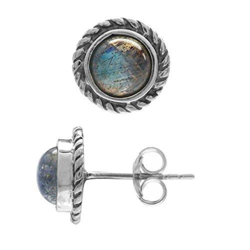 Labradorite 925 Sterling Silver w/Antique Finish Rope Stud (Labradorite Earrings)