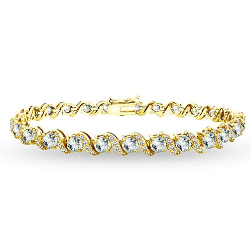 - GemStar USA Yellow Gold Flashed Sterling Silver Aquamarine 4mm Round-Cut S Design Tennis Bracelet with White Topaz Accents