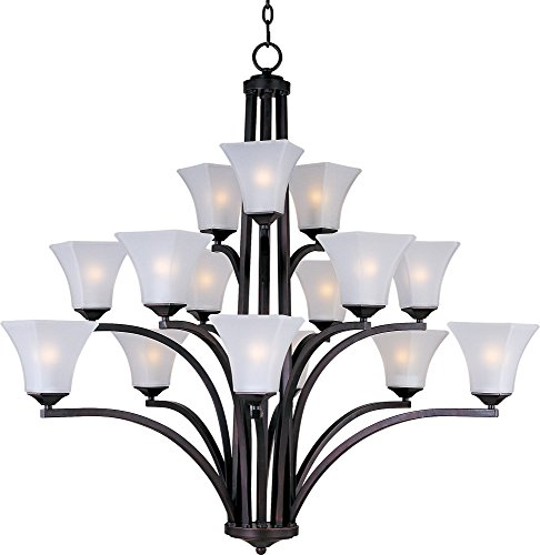 Maxim 20097FTOI Aurora 15-Light Chandelier, Oil Rubbed Bronze Finish, Frosted Glass, MB Incandescent Incandescent Bulb , 40W Max., Dry Safety Rating, Standard Dimmable, Opal Glass Shade Material, Rated - Maxim Chandelier Square